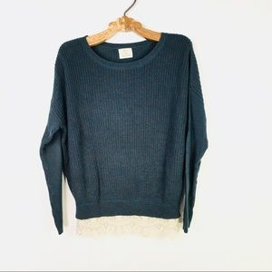 Urban Outfitters green Lace Trim Sweater Green XS